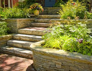 tiered stone steps